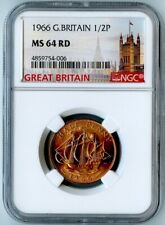 1966 GREAT BRITAIN NGC MS64 RD GOLDEN HIND 1/2 PENNY 1/2P!