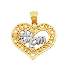 14k Solid Yellow Gold Two Tone #1 Mom Pendant Heart Love Mother's Day Gift