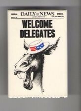 1976 Jimmy CARTER pin DAILY NEWS Newspaper DONKEY Welcomes DELEGATES to NYC