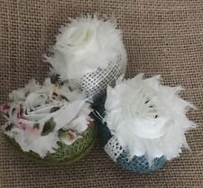 Primitive Easter Eggs Spring Burlap Flower Bowl Filler Chiffon Shabby Chic S/3