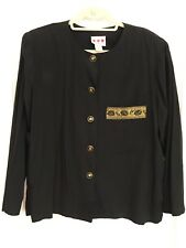 vtg 80s PANSY women's 16 XL BLACK SHIRT Gold Rose Buttons & Trim LONG SLEEVE euc