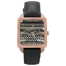 Underwood 3 Typewriter Style Rose Gold Square Shaped Case Leather Watch
