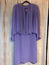 Vintage Wayne Clark Aline Marelle Purple Long Sleeve Sheer Formal Dress Sz 10
