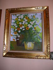 """""""CARSON"""" OIL PAINTING SIGNED,FLOWERS,READY TO DISPLAY, 23 1/2"""" X 32""""FRAME SIZE"""