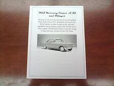 1963 Mercury Comet factory cost/dealer sticker pricing for base + options $$$