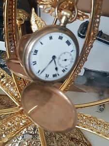 A FULL HUNTER GOLD PLATED SWISS MADE 15 JEWEL FULLY WORKING ANTIQUE POCKET WATCH