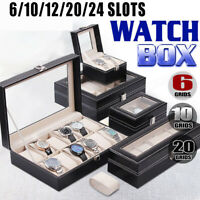 6/10/12/20/24 Slots Grids Leather Watch Display Case Jewelry Storage Box Winder