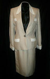 HERMES ~ stylish Linen Ivory skirt suit ~ size: S / M ; 40 * 100% AUTHENTIC