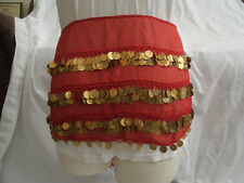 Egyptian Belly Dancing Red Rectangular Belt With Gold Metal Coins #20
