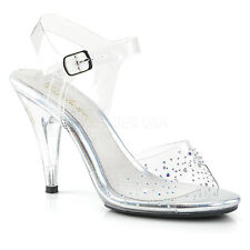 """PLEASER Sexy Clear 4"""" Heel Sandals Ankle Strap Rhinestones Pageant Women Shoes"""