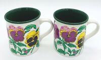 Potpourri Press PANSIES mug cup 1991 Dark Green Interior