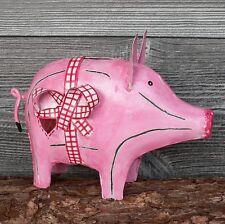 großes Sparschwein aus Metall Blech rosa mit Schleife Hochzeit 21cm Spardose