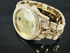 """""""NEW"""" TECHNO PAVE MEN'S GOLD PLATED LUXURY DESIGN CUBAN ICED OUT BLING WATCH"""