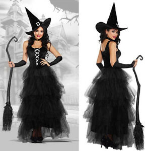 Halloween Witches Fancy Dress + Hat Sexy Long Womens Ladies Black Witch Costume