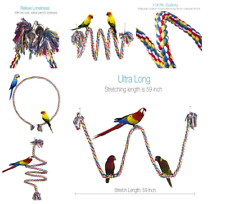 Perch Rope Parrot Parakeet Bird Toy Part Cage Training African Grey Large Macaw