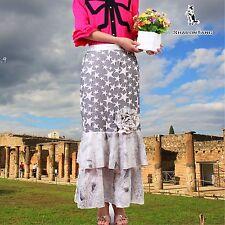 SHARON TANG Modest Apparel Blue Ruffle Star Gray Big Flower Skirt  ST13080088-44