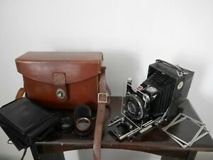 Zeiss Ikon Tessar 105mm very small Folding Plate Camera filters & clean plates
