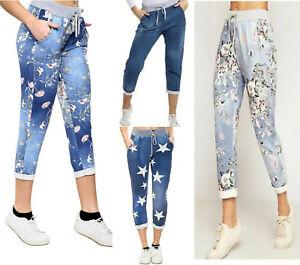 Womens Ladies Printed Italian Trousers Pants Casual Jogging Bottoms Denim Pants
