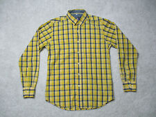 Summer Line Vintage Casual Button Shirt Mens Large Yellow Plaid Long Sleeve