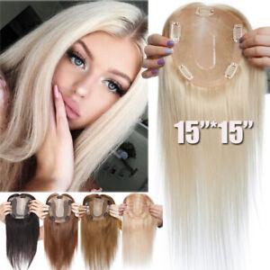 Russian Clip In Women Topper 100% Human Remy Hair Top Piece Toupee Wig MONO BASE