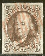U.S. #1 Used w/Cert - 1847 5c Red Brown ($350)