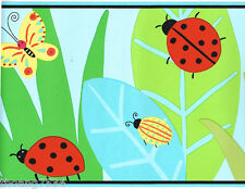 Ladybug Butterfly Snail Green Leaf Garden BUG PARTY Kid Wall paper Border