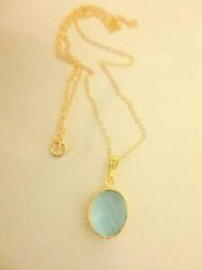 Aquamarine pendant Necklace, 20 inch 14 kt Gold Chain ________