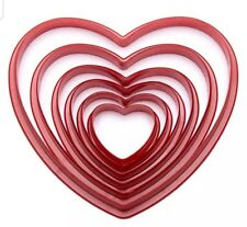 6 HEART COOKIE CUTTERS-LOVE HEARTS NESTING BISCUIT CUTTER-CAKE MOULD-3CM-10.5CM