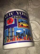 New York Coffee Mug City Merchandise Twin Towers Liberty Rockefeller Taxi NYPD