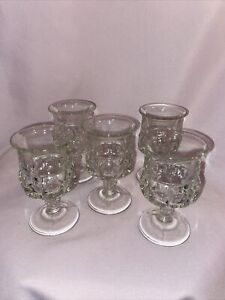 "5 Tiffin Kings Crown Clear Thumbprint Goblets 3 5/8"" Tall Vintage"