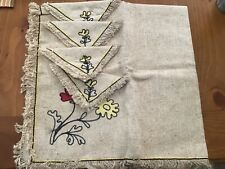 VINTAGE LINEN TABLECLOTH MATCHING NAPKINS RETRO NEVER USED BISTRO