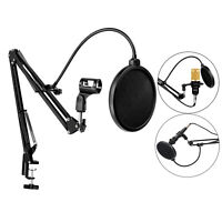 Microphone Suspension Scissor Boom Bracket Stand with Pop Filter and Mic Holder