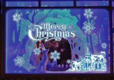 Reusable Merry Christmas Glitter Sticker Shop Window Decorate Snowflake Cottage