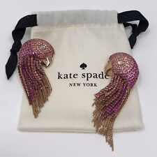Kate Spade New York Tropical Paradise Statement Parrot Fringe Earrings Gold Pink