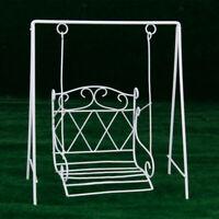 1:12 Dollhouse Miniature Garden Porch Patio Furniture Wire Metal Swing White