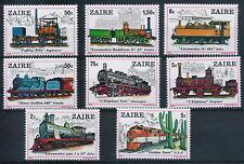 Congo-Zaire**STEAM LOCOMOTIVES-8vals-Cat 11€-1980-TRAINS-LOKOMOTIVE-TREIN-ZUG