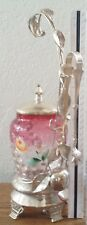 Vict FIGURAL FRUIT Art Glass Amberina Cranberry Thumbprint Enamel Pickle Castor
