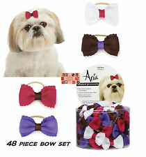 48 ct DOG GIGI Premium BOW w/BAND Scalloped Edges Grooming HAIR RIBBON Top Knot