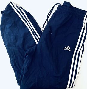 ADIDAS Vintage Men's Nylon Wind Pants-Navy Blue White Stripes - Size Large--EUC