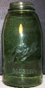 ANTIQUE 2 QT. OLIVE GREEN BALL MASON JAR