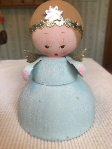 Vintage Western Germany Paper Mache Mica Candy Container - Angel