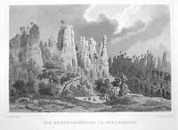 GERMANY Bielagrund Hercules Rock Formation - 1860 Original Engraving Print