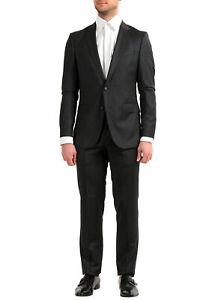 "Hugo Boss Men's ""Nestro3/Byte1"" Slim Fit Black Wool Two Button Suit"