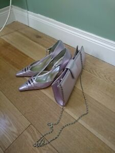 Orlando Wedding Shoes, Unworn, Size 7 With Matching Clutch. Pebble LIilac