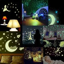 Glow In The Dark Stars Moon Wall Stickers Luminous Kids Bedroom Nursery Ceiling