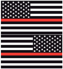 """Firefighter Reflective Thin Red Line American Flags Mirrored 3""""-  Decals"""