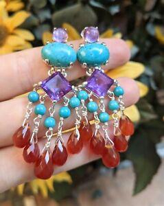 Bounkit Amethyst Turquoise Carnelian Sterling Silver Dangle Chandelier Earrings