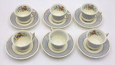 SET OF 6 ~ ROYAL DOULTON DEMITASSE BEAUTIFUL FLORAL CUPS & SAUCERS ~ ENGLAND