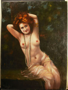 Woman Rousse Dénudée Choose Collier Of Pearl XIX 31 1/2in Naked Female Redhead