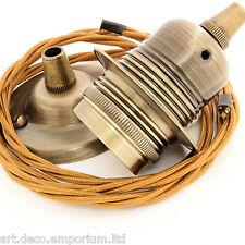 Vintage Brass Finished Ceiling Pendant Kit E27 Bulb Holder & Antique Gold Flex